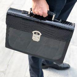 Shiny Crocodile Business Bag in Black